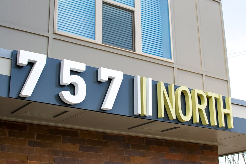757 north exterior logo sign