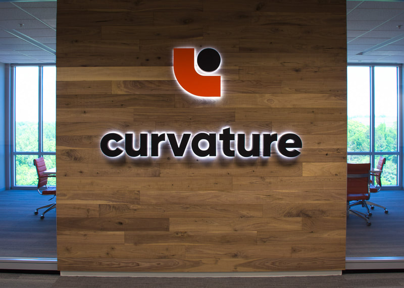 Curvature business reverse illuminated wall mounted logo sign