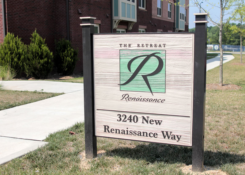 The Retreat at Renaissance post and panel sign