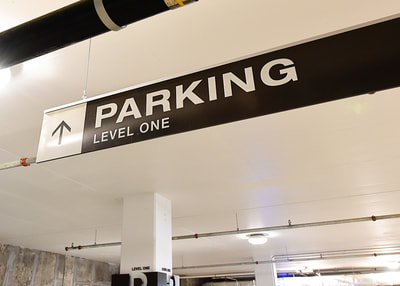 hanging parking garage wayfinding sign