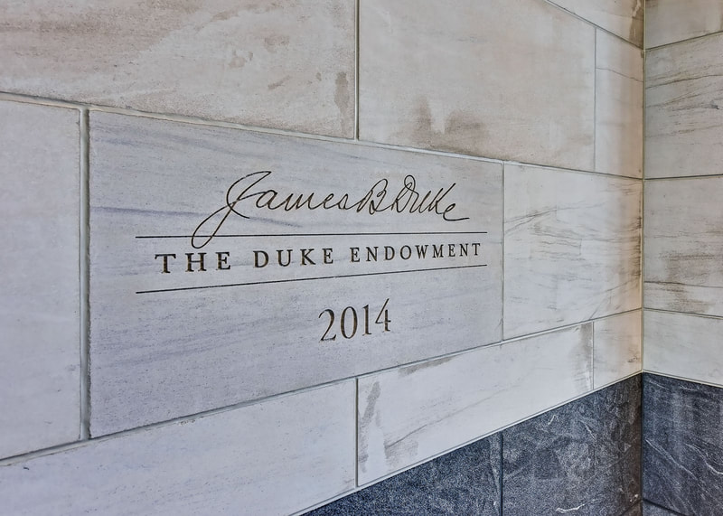 The Duke Endowment Center interior marble engraved logo
