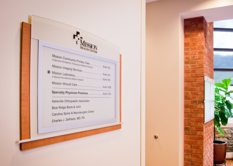 mission health directory wall mounted sign