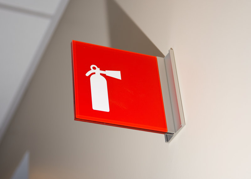 wall mounted double sided code fire extinguisher sign