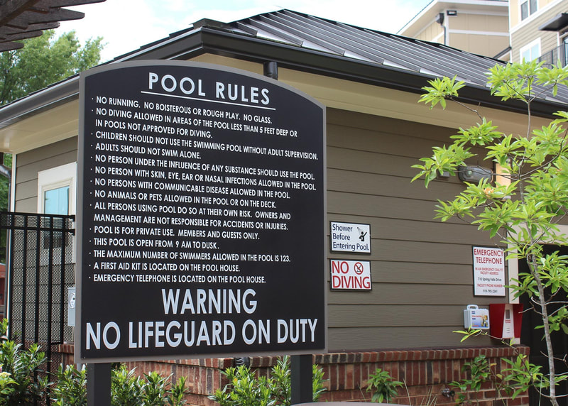 Post and panel pool rules sign