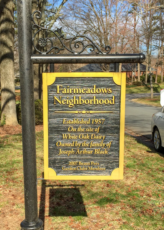 Fairmeadows Neighborhood post and panel hanging wooden sign