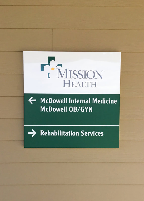 mission health wayfinding wall mounted sign