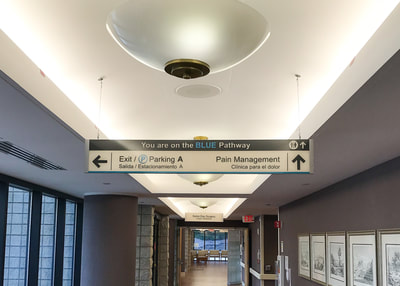 hanging wayfinding sign