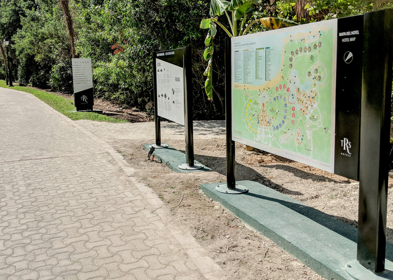 resort map information and wayfinding post and panel signage
