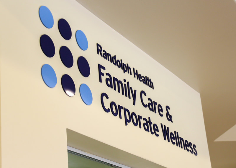 interior hospital wall graphics lettering