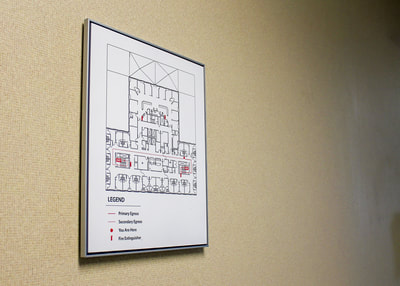 wall mounted floor map code sign