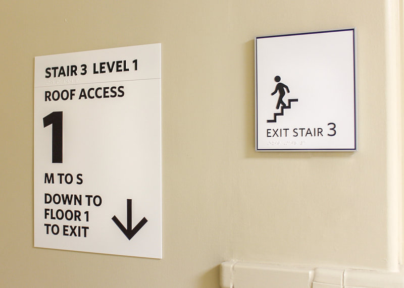 stairwell wayfinding and ADA signs