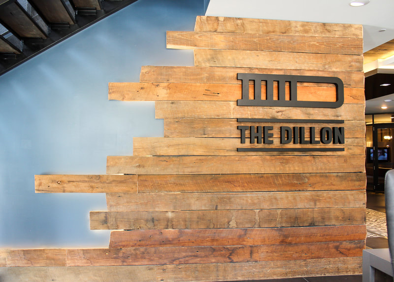 The Dillon interior wooden wall graphics