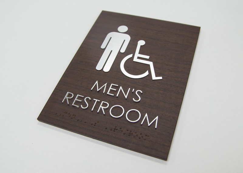 ADA, braille, wood, sign, ID, restroom
